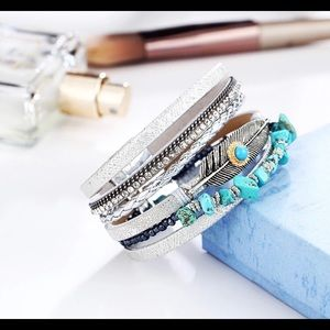 Jewelry - New leather stone wrap bracelet silver turquoise